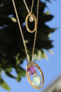 Sautoir Améthyste, Aigue marine et citrine avec anneaux