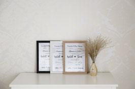 Kunstdruck Wandbild A4 Berühmte Paare / Traumpaare personalisierte Geschenkidee für Hochzeit, Verlobung, Valentinstag etc. MIT Bilderrahmen
