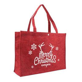 Weihnachtstaschen Filz in bordeaux mit Druck Merry Christmas in weiß