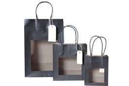 Papiertüten mit Sichtfenster in schwarz