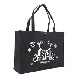 Filztaschen Weihnachten in schwarz mit 1-seitigem Druck in weiß