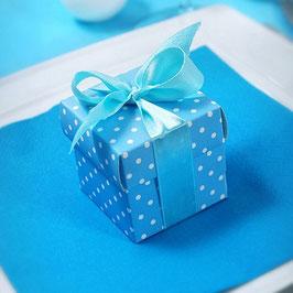 Würfel - Box, blau gepunktet