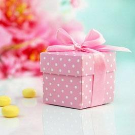 Würfel - Box, rosa gepunktet