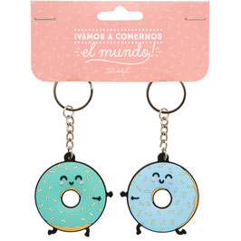 MR.WONDERFUL SET DE 2 LLAVEROS DE CAUCHO - ¡VAMOS A COMERNOS EL MUNDO!
