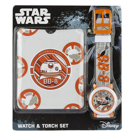 PACK RELOJ  Y LINTERNA STAR WARS BB-8