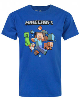 CAMISETA MINECRAFT (RUN AWAY AZUL) M/C