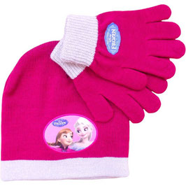 CONJUNTO GORRO Y GUANTES FROZEN COLOR GRANATE