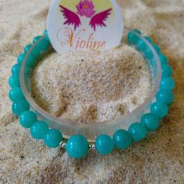 amazonite de Russie, bracelet perles 6mm + 8mm