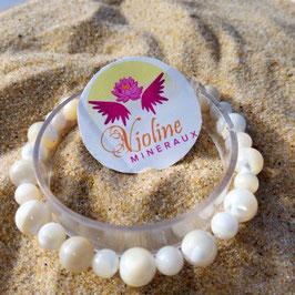 Nacre, bracelet perles 6mm/8mm