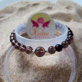 Quartz fumé, bracelet perles  6mm - 8mm