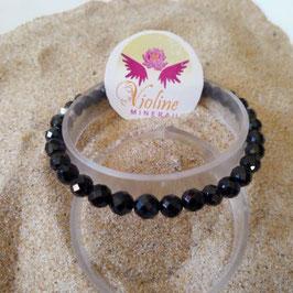 spinelle noire extra, bracelet perles facettes 6mm