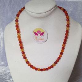 cornaline collier perles 6mm, 46cm