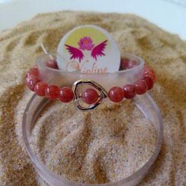 pierre de soleil, bracelet perles 6mm + coeur