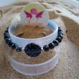 Obsidienne mouchetée, bracelet perles  6mm - 12mm