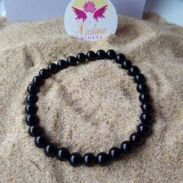 Obsidienne noire, bracelet perles  6mm