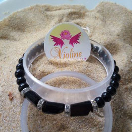 Tourmaline noire, bracelet perles  6mm, perles brutes et strass