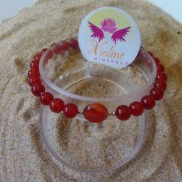 cornaline, bracelet perles 6mm + plate 8mm