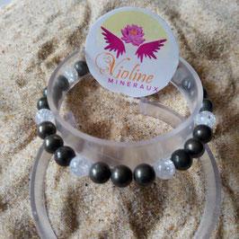 Pyrite +quartz, bracelet perles 6mm