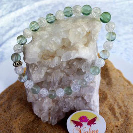 fluorine verte + quartz blanc, bracelet perles 6mm