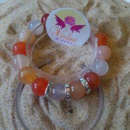 cornalines, bracelet perles 12mm
