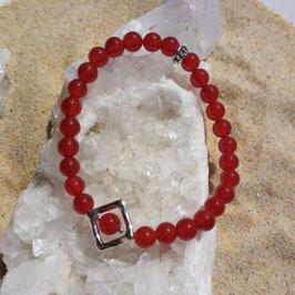 cornaline, bracelet perles 6mm + losange