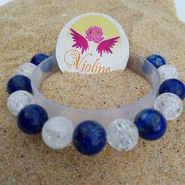 lapis lazuli/quartz, bracelet perles 10mm