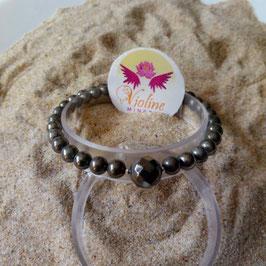 Pyrite, bracelet perles 6mm + 10mm
