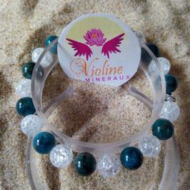 apatite/quartz, bracelet perles 8mm mixte