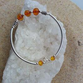 ambre perles 8mm, bracelet perles ARGENT 925ème