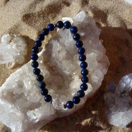 lapis lazuli, bracelet 6mm + quartz polygone