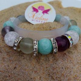 Bracelet perles labradorite de 6mm + allongées 10mm