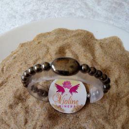 Pyrite, bracelet perles 6mm et perle plate