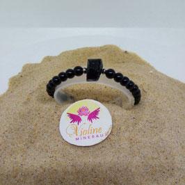 Tourmaline noire, bracelet perles 6mm + brute