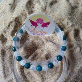 apatite/quartz, bracelet perles 6mm mixte
