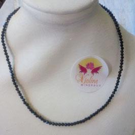 Collier perles facettes 2mm obsidienne noire-doré