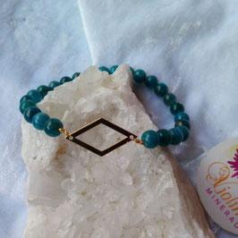 apatite, bracelet perles 6mm + losange doré inox
