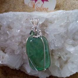 fluorine verte, pendentif fait main