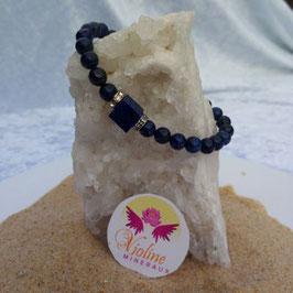 lapis lazuli, bracelet perles 6mm + carré