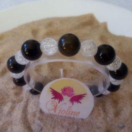 Obsidienne noire 10mm + quartz 8mm, bracelet perles