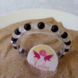 Obsidienne noire et quartz, bracelet perles 6mm