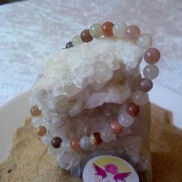 pierre de lune couleur et blanche, bracelet perles 6mm
