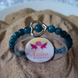 apatite, bracelet perles 6mm + coeur