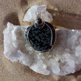 Obsidienne mouchetée pendentif fait main