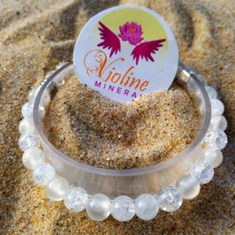 Sélénite, quartz craquelé, bracelet perles 6mm