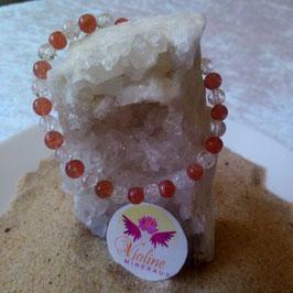 pierre de soleil extra et quartz, bracelet perles 6mm