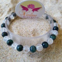 Duo quartz et racine d'émeraude, bracelet perles 6mm