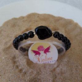 spinelle noire, bracelet perles 6mm + perle roulée spinelle