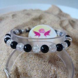 Tourmaline noire + Quartz, bracelet perles  6mm