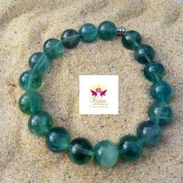 fluorine bleue, bracelet perles 10mm