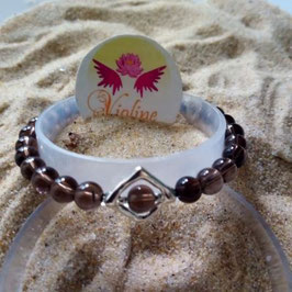 Quartz fumé, bracelet perles  6mm - losange